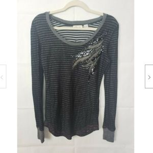 Miss Me Long Sleeve Striped Tunic With Crystals